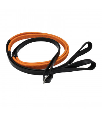 Leather racing reins with reinforced loop end - 19 mm - Rubber handle